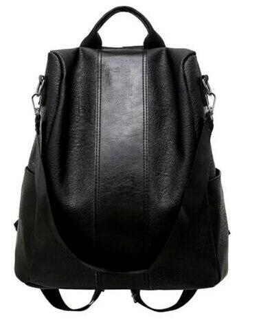 Новое поступление, женский кожаный рюкзак с защитой от кражи, школьный рюкзак,, сумка через плечо, черный, коричневый - Цвет: Черный