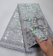 Latest Organza lace fabric 2019 African sequins with beads Fabric For Christmas Party Dresses Winn651g