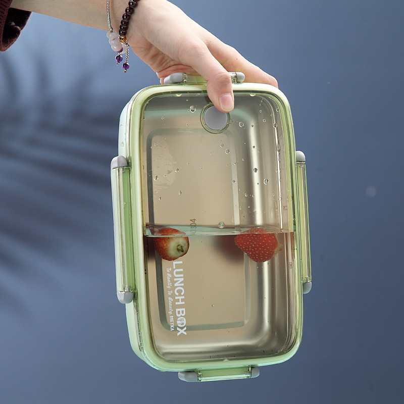 Image 4 - Portable Healthy Material Lunch Box Independent Lattice For Kids Bento Box Microwave Dinnerware Food Storage Container Foodbox-in Lunch Boxes from Home & Garden