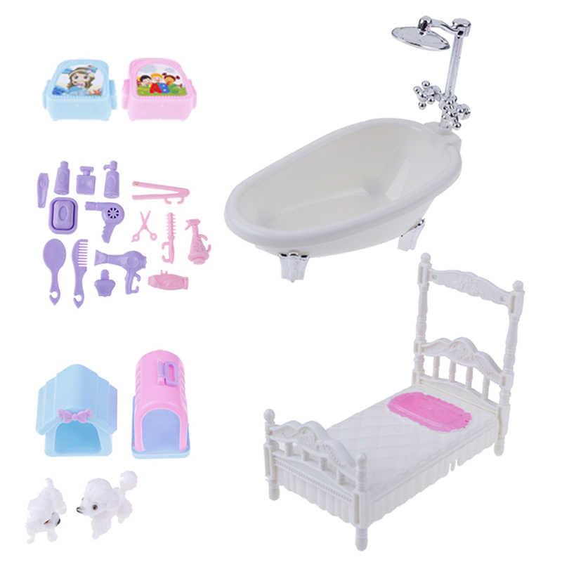 Plastic Mini Bathroom Miniatures Furnitures Kits Set For Diy Dollhouse Kids Toy Decor Doll Gift For Children Doll Houses Aliexpress