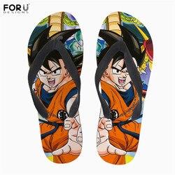 Forudesigns chinelos de borracha macia dragon ball print estilo anime homens verão chinelos de praia de pouco peso sandálias de água para o sexo masculino