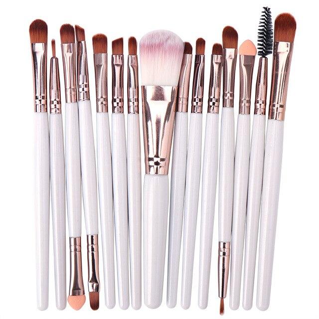 15 pçs conjunto de escova de maquiagem cosmetict maquiagem para rosto compõem ferramentas mulheres beleza profissional fundação blush eyeshadow consealer 4