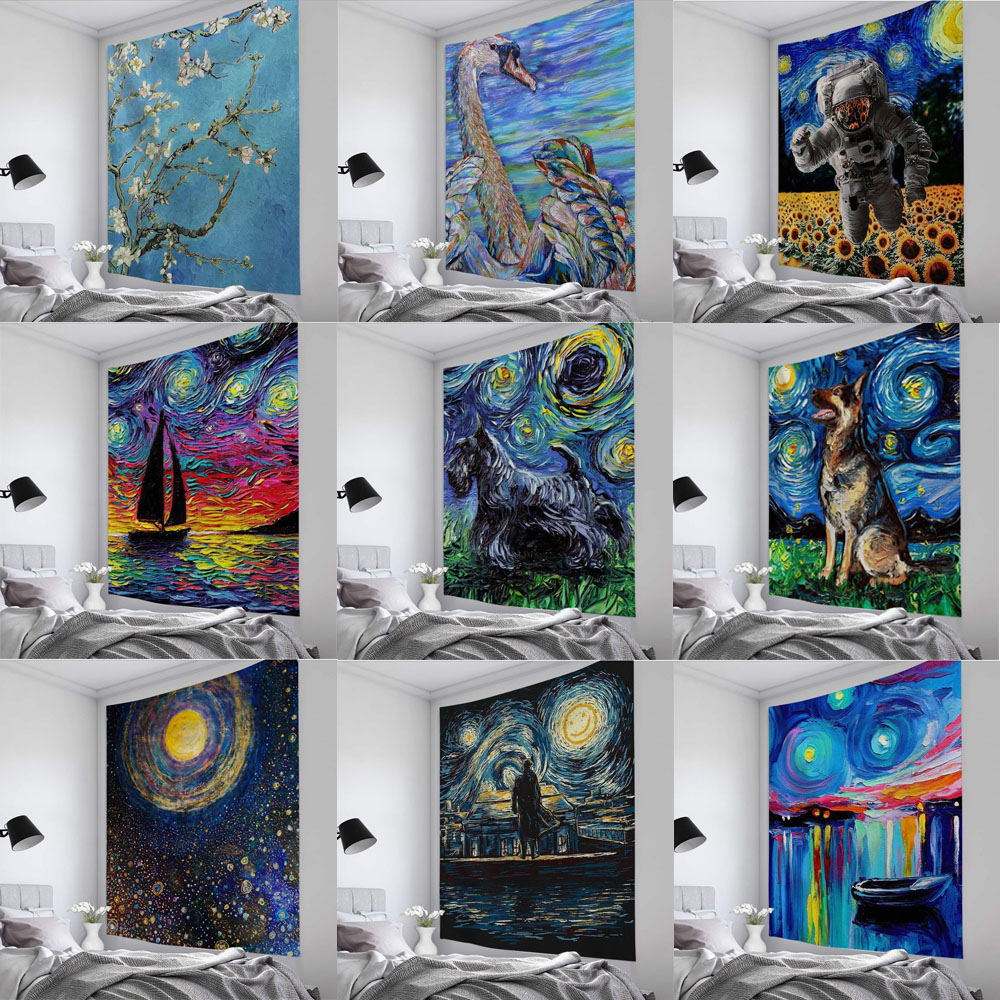 Special Offer Van Gogh Element Tapestry Element Creative Oil Painting Beach Mat Wall Hanging Decoration Tapestry Home Decoration