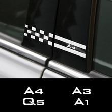 2 adet araba Sticker Audi A4 B5 B6 B7 B8 A3 8P 8V 8L A5 A6 C6 c5 C7 A1 A7 A8 Q2 Q3 Q5 Q7 TT RS5 B Pillar oto Tuning aksesuarları