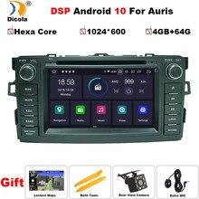 Autoradio PX6, Android 10, Hexa Core, 4 go/64 go, DSP, navigation GPS, lecteur DVD, vidéo, multimédia, 2 DIN, pour voiture Toyota Auris (2008 – 2012)