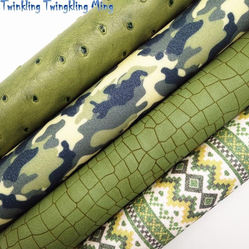 Зеленый кожи страуса, Camousflag блеск с принтом ткани детская пижама с рисунком «крокодил» Искусственная кожа для лук A4 21x29 см мерцание Ming KM096
