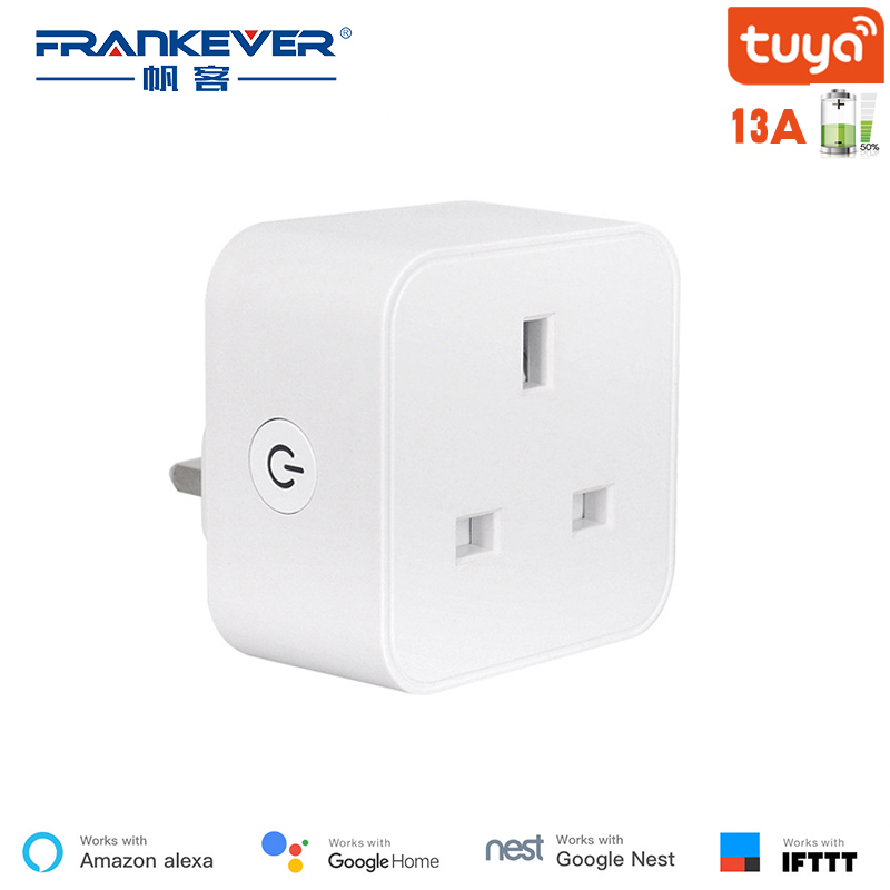 FrankEver UK Wifi Plug 13A 16A Smart Socket with Power Monitoring Surge Protector Voice Control Work with Alexa Google Home(China)