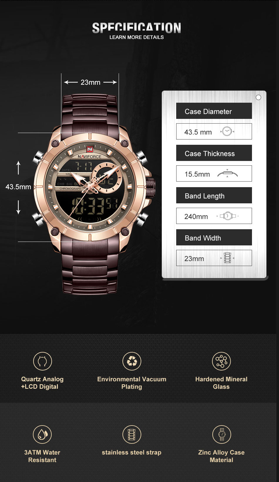 H962d2088bd934f07a60cca8aa3805918C Top Brand Men Watches NAVIFORCE Fashion Luxury Quartz Watch Mens Military Chronograph Sports Wristwatch Clock Relogio Masculino