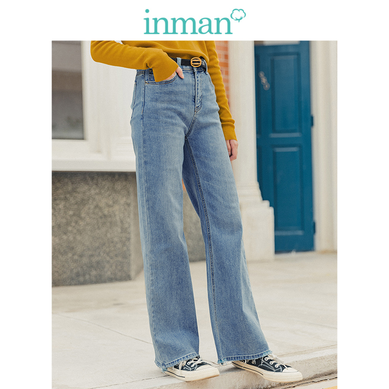 INMAN Spring Autumn Young Literary Style Retro Medium High Waist Minimalism All Matched Straight Casual Women Jeans