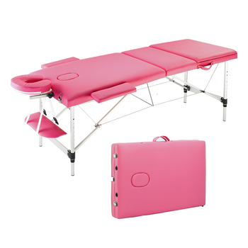 3 Sections 185 x 60 81cm Foldable Beauty Bed Folding Portable Aluminum Foot Massage Table 60CM Wide Pink