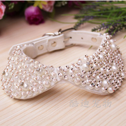 Wholesale White Pearl Diamond Set Neck Ring Pet Bow Tie Pearl Collar Poodle Shih Tzu Small Dog Collar