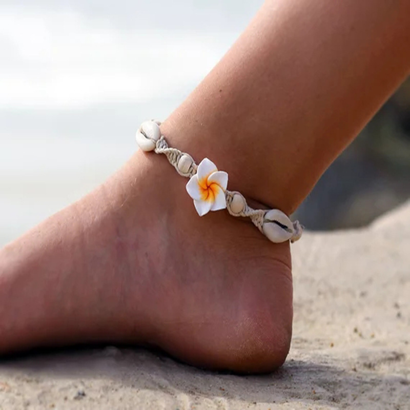 2020 New Bohemia Flower Shell Shape Anklets for Women Fashion Rice Beads Weave Beach Anklet Girls Jewelry Accessories