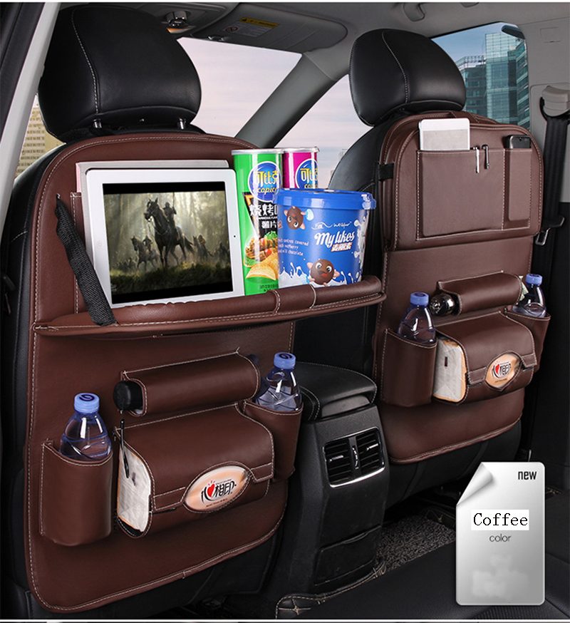 New Car Seat Back Organizer Pu Leather Pad Bag Foldable Table Tray Travel Storage Bag Multifunction Tidying Box Car Styling