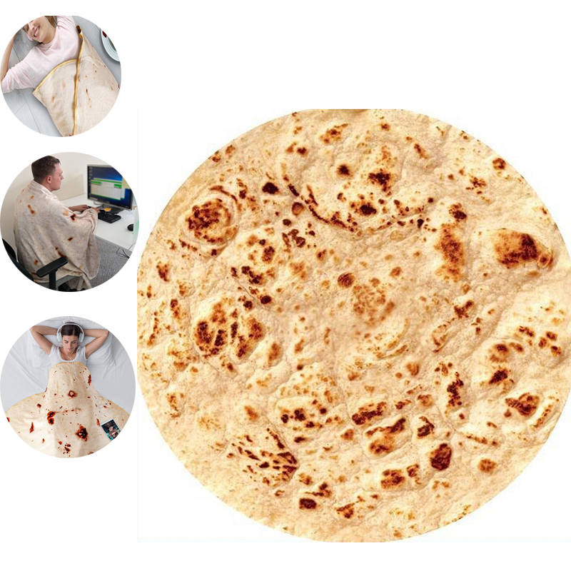 New Year Bedding Corn Tortilla Blanket Pita Lavash Food Flannel Blanket For Bed Gift Flannel Throw Funny Plush Bedspread