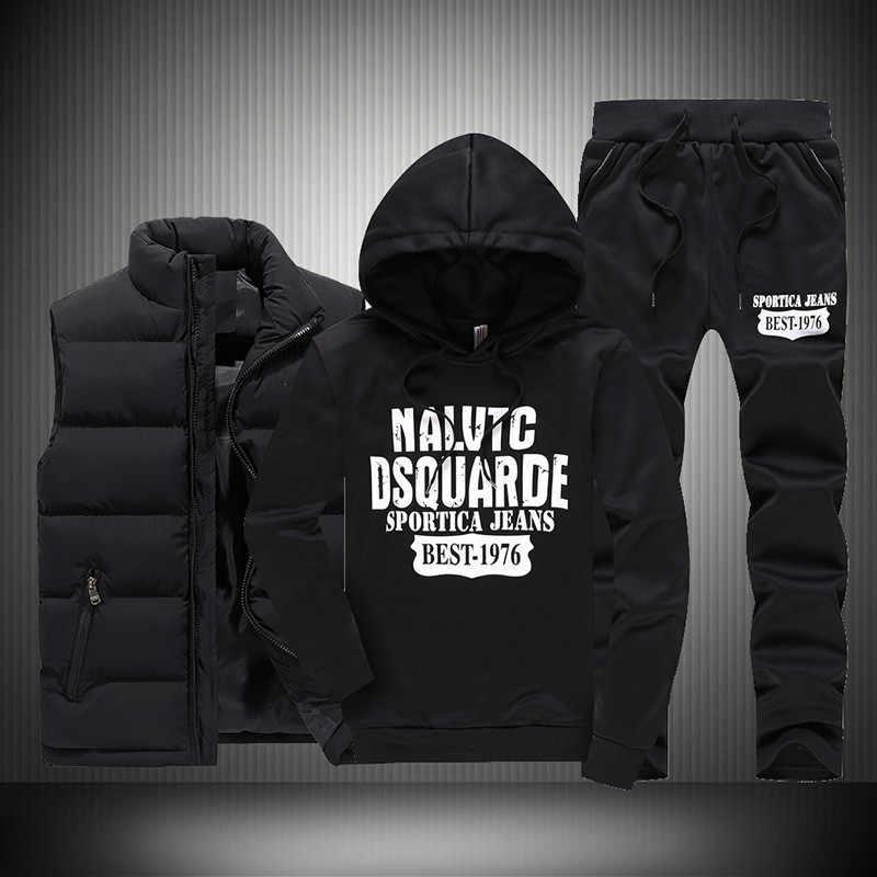 새로운 겨울 두꺼운 따뜻한 Tracksuit 남자 3 조각 후드 양털 후드 + 지퍼 조끼 + Sweatpants 트랙 정장 남자 인쇄 스포츠 코트