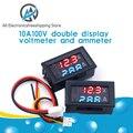 Цифровой вольтметр Амперметр постоянного тока 0-100 в 10 А, двойной дисплей, детектор напряжения, стандартный индикатор напряжения, 0,28 дюйма, к...
