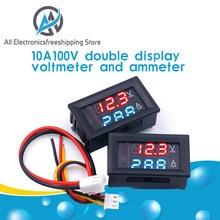 Dc 0-100v 10a digital voltímetro amperímetro display duplo detector de tensão medidor de corrente painel amp volt calibre 0.28