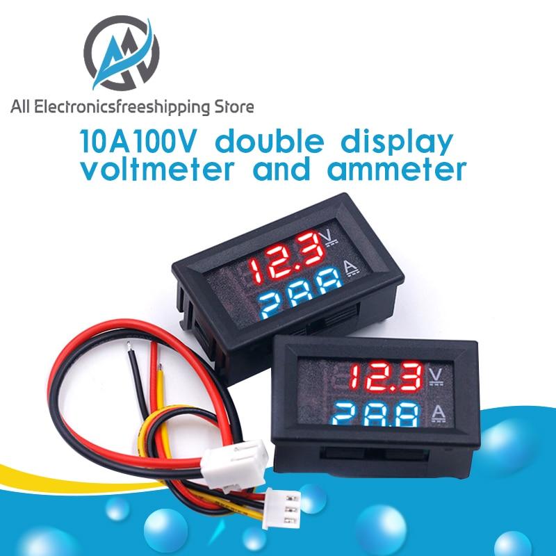 """Dc 0 100v 10a digital voltímetro amperímetro display duplo detector de tensão medidor de corrente painel amp volt calibre 0.28 """"led azul vermelho Medidores de tensão    -"""