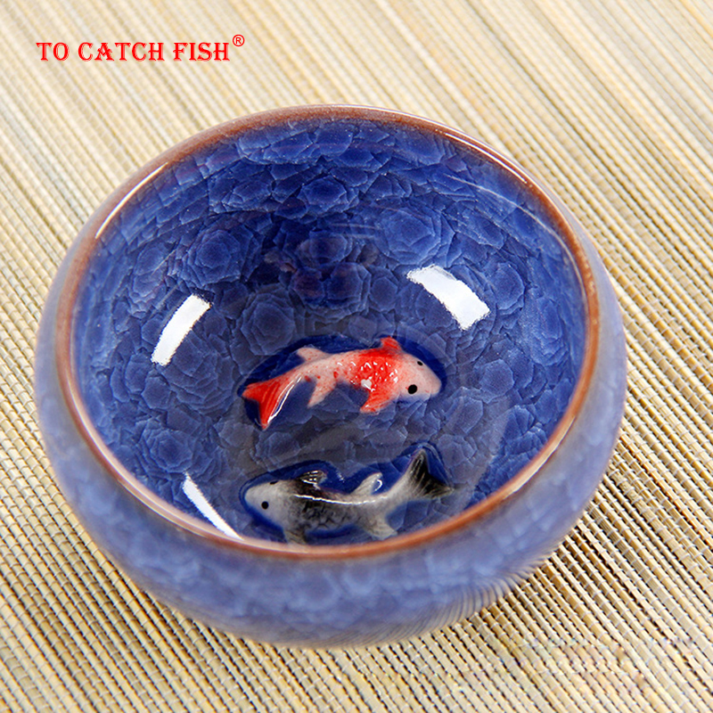 New Design 3D Ceramic Golden Fish China Tea Cup,Kung Fu Tea Cup Set Crackle Glaze Travel Tea Bowl Chinese Porcelain Teacup Sets