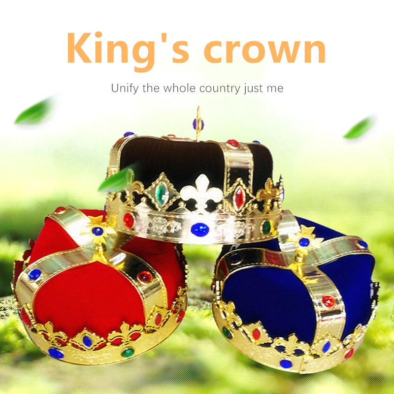 King Prince Crown Hat Decoration Cosplay Prop Adult Children Show Masquerade Birthday Party Drama Stage Performance Supplies
