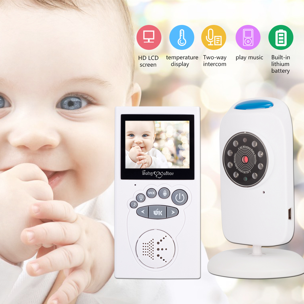 2.4 Inch LCD Video Baby Monitor 2.4G Wireless 2 Way Talk Night Vision Baby Security Temperature Sensor Baby Security Camera
