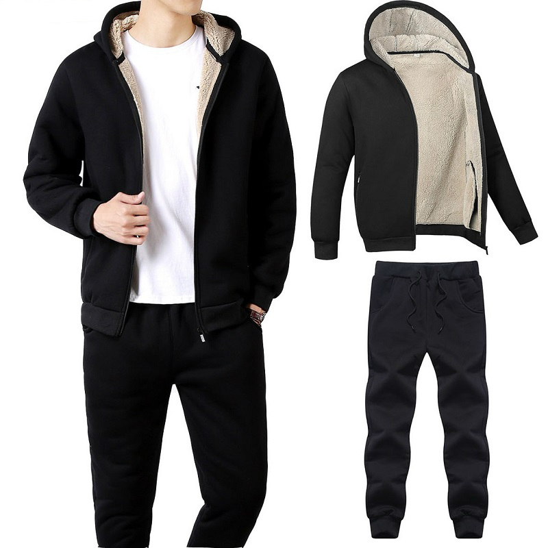 2019 Men's Casual Set Autumn And Winter Sports Men's Sportswear Thick Warm Plus Size Male Sweatsuits Fashion Mens Track Suit Set