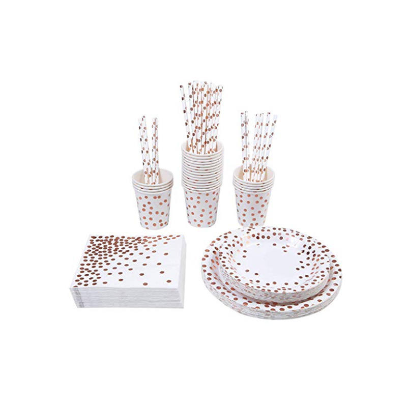 High end bronzing Party Supplies Gold paperTableware Cups Plate Straws Bachelorette Party Bride Birthday Party Decoration