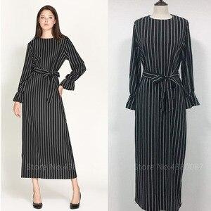 Muslim Abaya For Women Striped Long Dress Slim Long Abayas Islamic Muslim Style Fashion Plus Size White Turmpet Sleeve Clothing