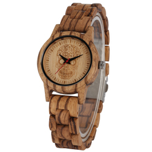 Attractive Quartz Wooden Watch Woman Watches Wood Strap with Skeleton Pattern Dial Quartz Wristwatch Ladies Gifts relojes mujer