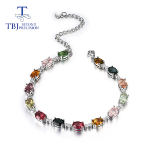Image 1 - الطبيعية يتوهم اللون التورمالين سوار مع 925 فضة تصميم بسيط غرامة مجوهرات لفتاة لطيفة هدية tbj تعزيز