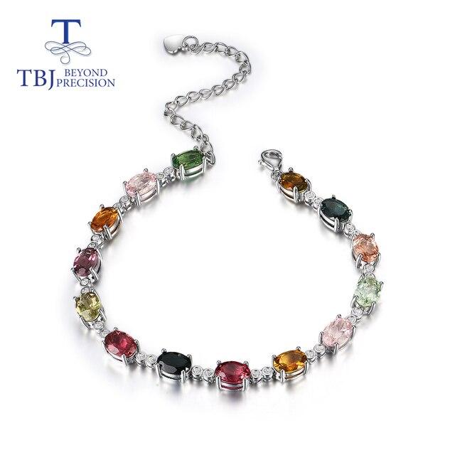 الطبيعية يتوهم اللون التورمالين سوار مع 925 فضة تصميم بسيط غرامة مجوهرات لفتاة لطيفة هدية tbj تعزيز