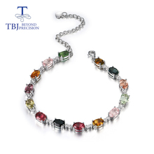 Natural fancy color tourmaline bracelet with 925 sterling silver simple design fine jewelry for girl nice  gift  tbj promotion