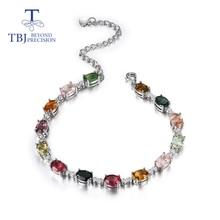 Pulsera de turmalina de color Natural para niña, de Plata de Ley 925, diseño simple, joyería fina, bonito regalo, promoción tbj
