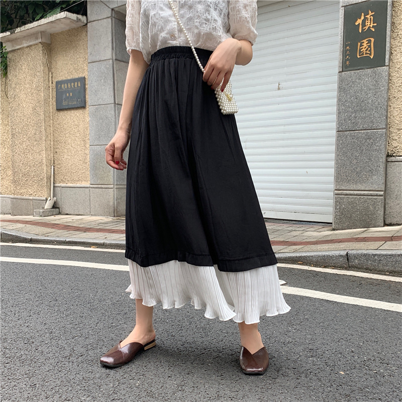 6593 # Price Control 35 Photo Shoot Net Price Summer Korean-style Contrast Color Joint Pleat Skirt Mid-length Platycodon Grandif