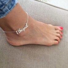Tobillera con nombre personalizado para hombre y mujer, joyería de cadena de acero inoxidable, Color oro rosa