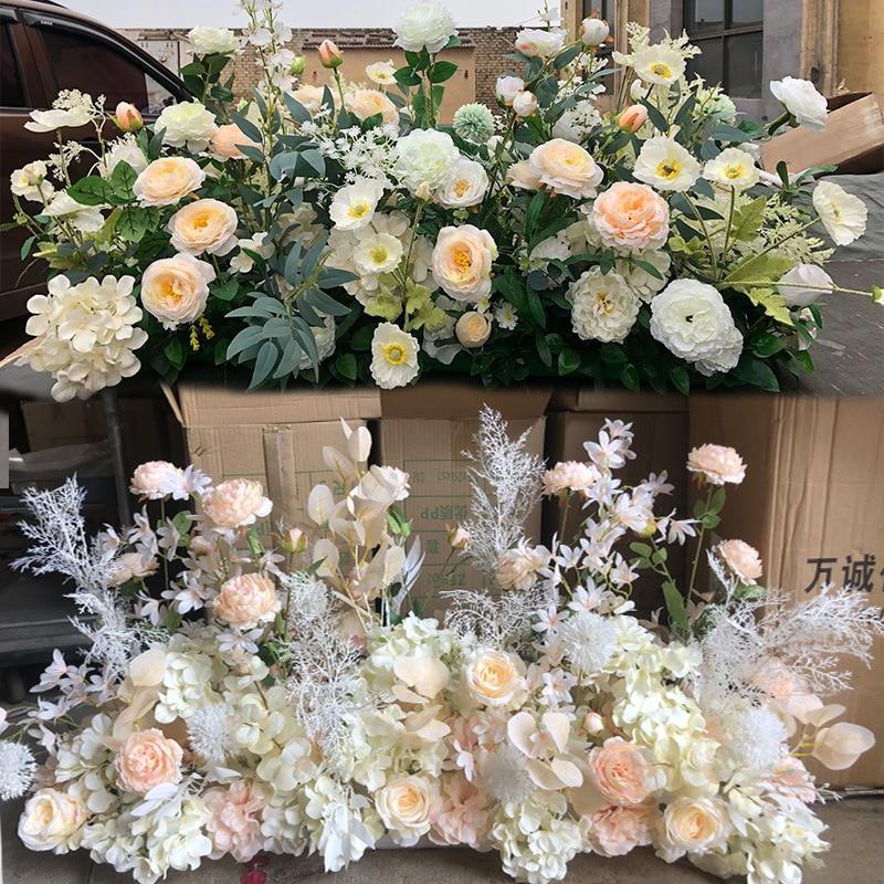 100 см ряд цветов Арка раскладка клавиатуры цветок этап руководство с цветочным узором для свадебной сцены DIY для создания искусственных цве...