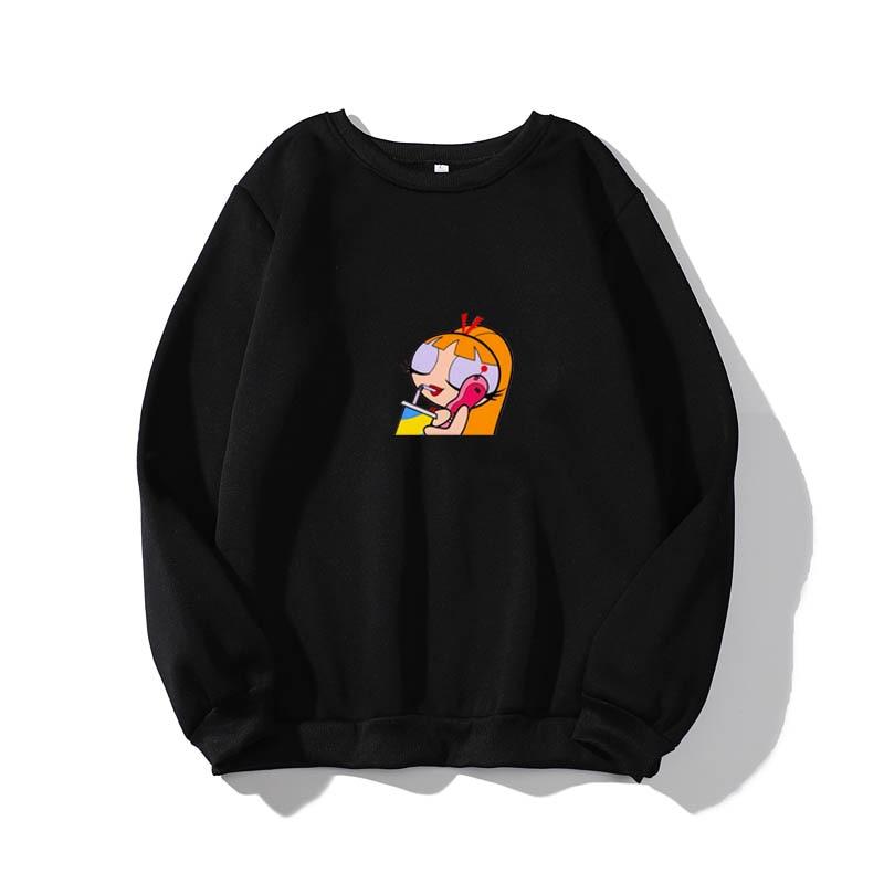 Chicas Superpoderosas Fondo De Pantalla Round Neck Pullover Long Sleeve Casual Unisex Sweatshirt Hoodie  Harajuku Hip Hop Top