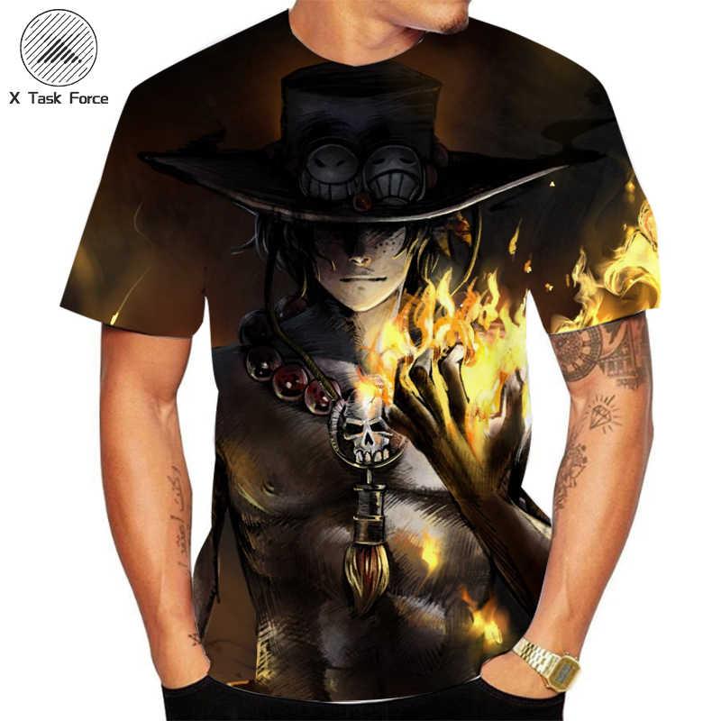 3D הדפסת קיץ חתיכה אחת חולצה יפני אנימה לופי של אח Tshirt גברים loose מקרית למעלה טי גברים בגדים טי חולצה homme