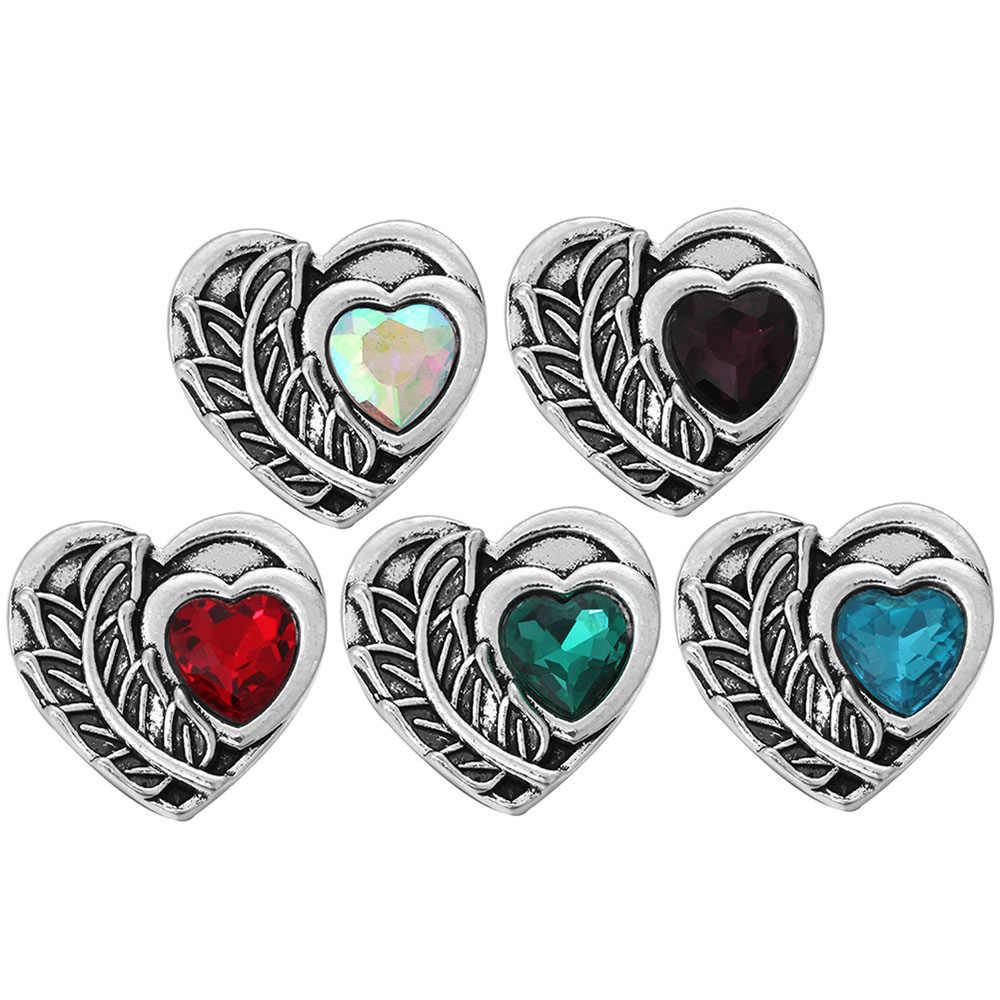 6 Pcs/lot Diy Cinta Hati Snap Tombol Perhiasan Cocok 18 Mm Logam Snap Tombol Perhiasan DIY Gelang