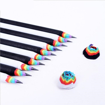 6Pcs/Set Pencil Hb Rainbow Color Pencil Stationery Items Drawing Supplies Cute Pencils For School Basswood Office School Cut 1