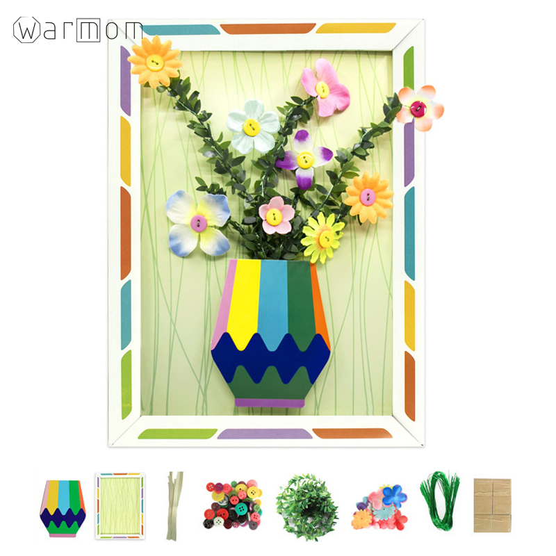 Warmom Kids Puzzle Toys Set Crafts DIY Plush Ball Stickers Flower Arrangement Puzzle Toy Kids Educational Toys For Children Gift