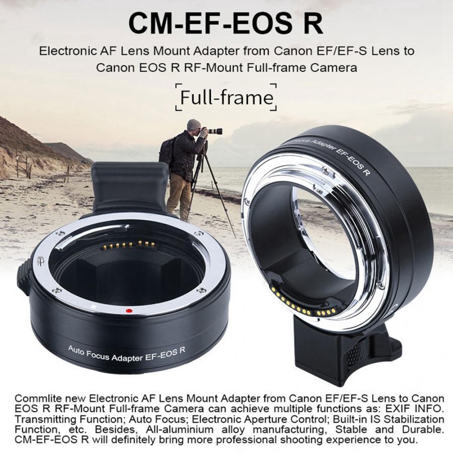 Nouvelle bague d'adaptateur de montage d'objectif de mise au point automatique Commlite pour objectif Canon EF/EF-S vers bague d'adaptateur de montage d'appareil-photo EOS R RF