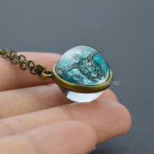 3D Turtle Art Photo Handmade Double Side Pendant Necklace Fashion Cute Ocean Animal Glass Ball Jewelry