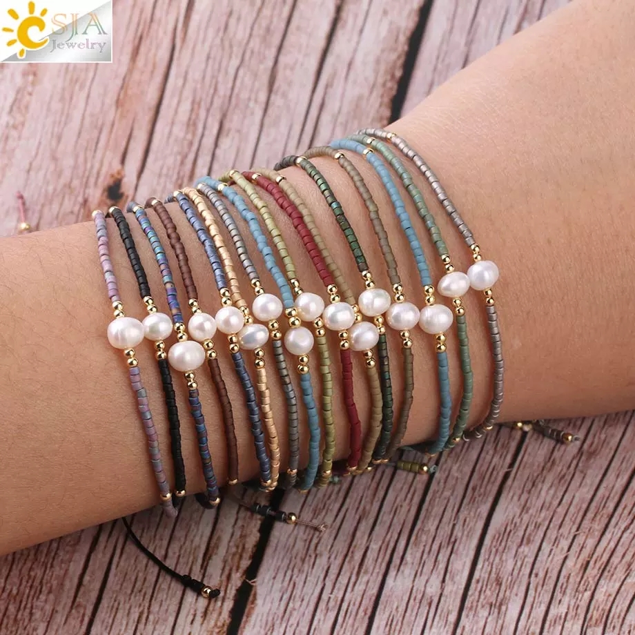 CSJA Summer Miyuki Bracelets for Women Pulseras Mujer Moda 2020 Delica Beads Pearl Hand Jewelry Metal Color Plated Bracelet S337