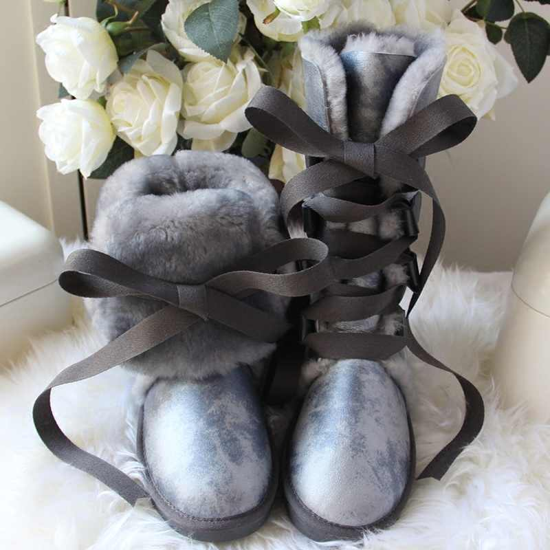 GY&YY Winter Wool Boots Women Sheepskin Leather Snow Boots Knee-High Lace Bow Fur Boots Waterproof Winter Girls New Female Shoes