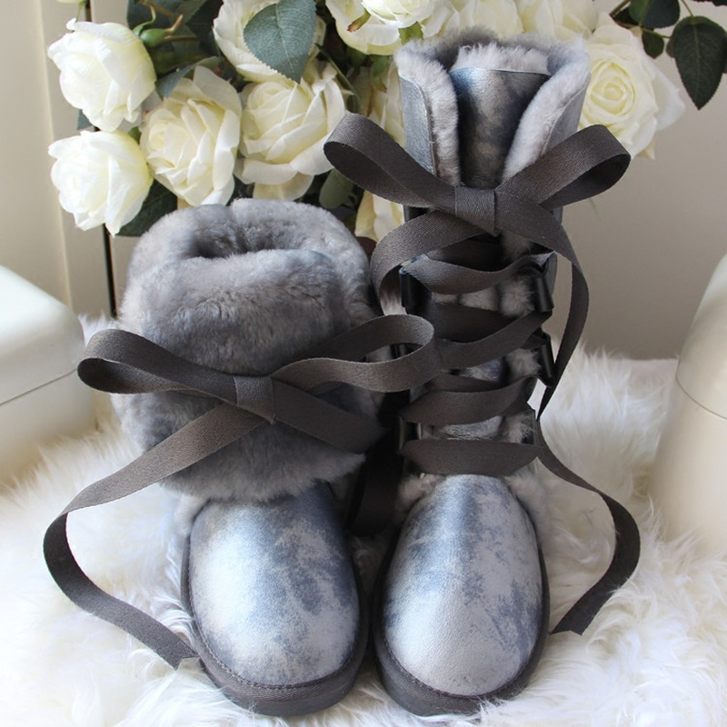 GY&YY Winter Wool Boots Women Sheepskin Leather Snow Boots Knee-High Lace Bow Fur Boots Waterproof Winter Girls New Female Shoes image