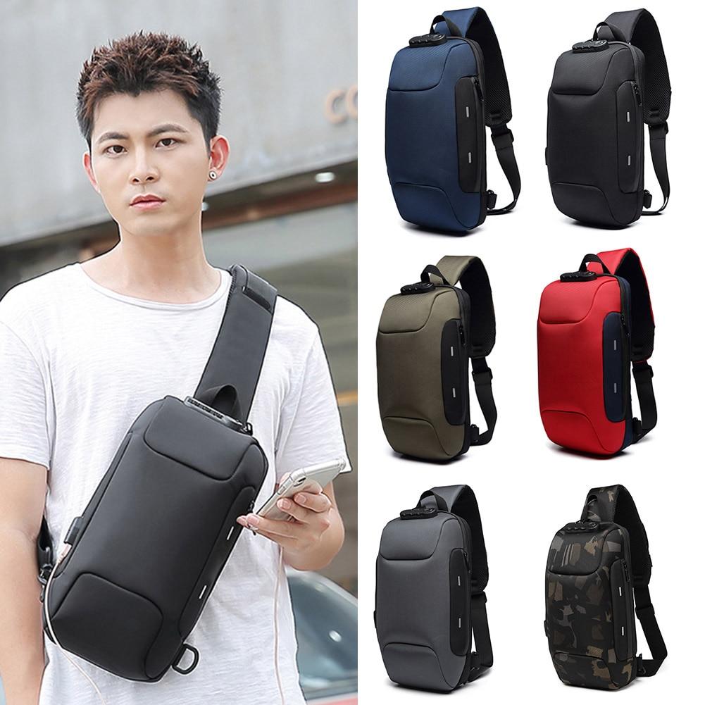 Waist Bag Men Fashion Anti Theft Sling Bag Shoulder Crossbody Waterproof Chest Bag With USB Charging Port Lightweight Fanny Pack
