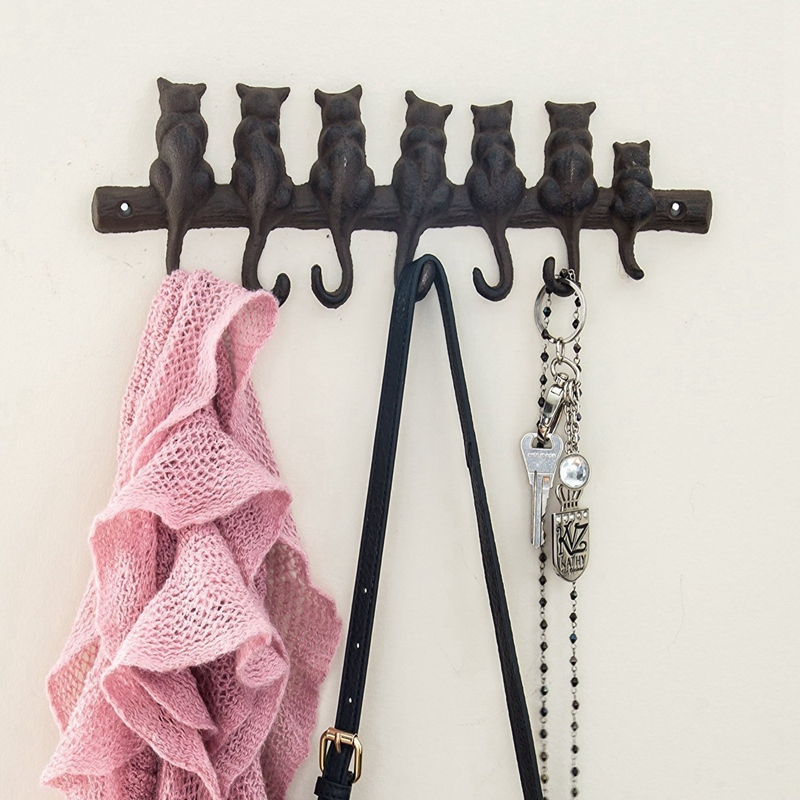 7 Cats Cast Iron Wall Hanger   Decorative Cast Iron Wall Hook Rack   Vintage Design Hanger with 4 Hooks   Wall Mounted Hooks & Rails     - title=