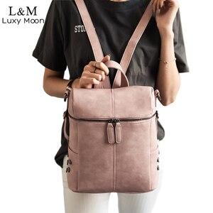 Image 1 - 간단한 스타일 배낭 여성 가죽 백팩 십 대 소녀 학교 가방 패션 빈티지 단색 검은 어깨 가방 청소년 XA568