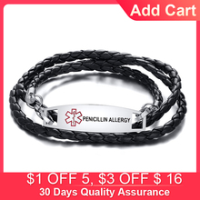 Personalized Medic Tag Black Braided Leather Triple Wrap Medical Alert Men Bracelet DIABETES HYPOGLYCEMIA Free Engraving